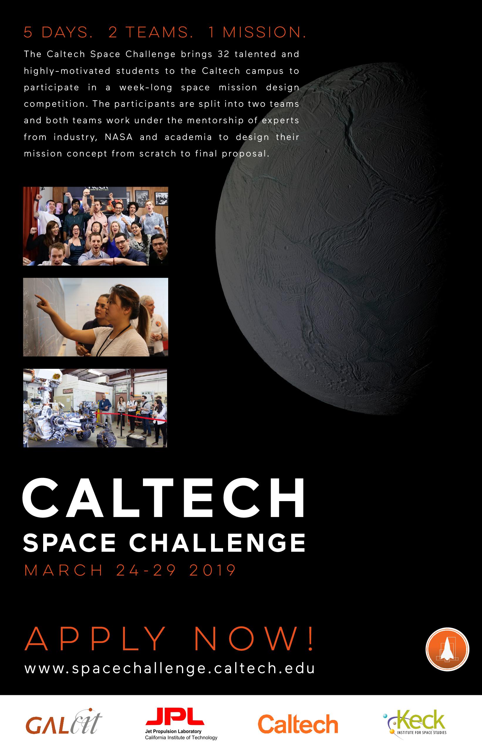 internship job announcements 2018 oasa Georgetown Electrical Engineering competition encelanders \u2013 caltech space challenge 2019