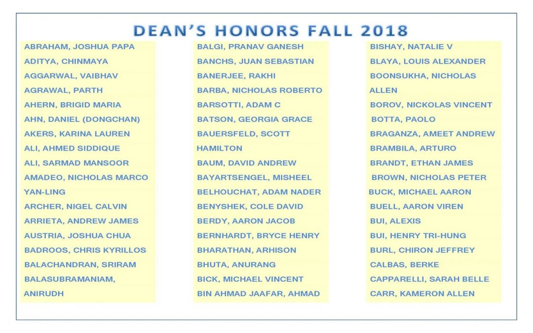 Dean's Honors Fall 2018 pg1