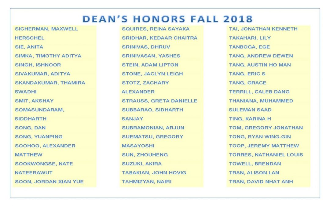 Dean's Honors Fall 2018 pg10