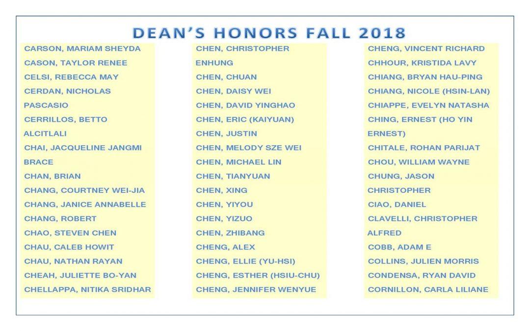 Dean's Honors Fall 2018 pg2