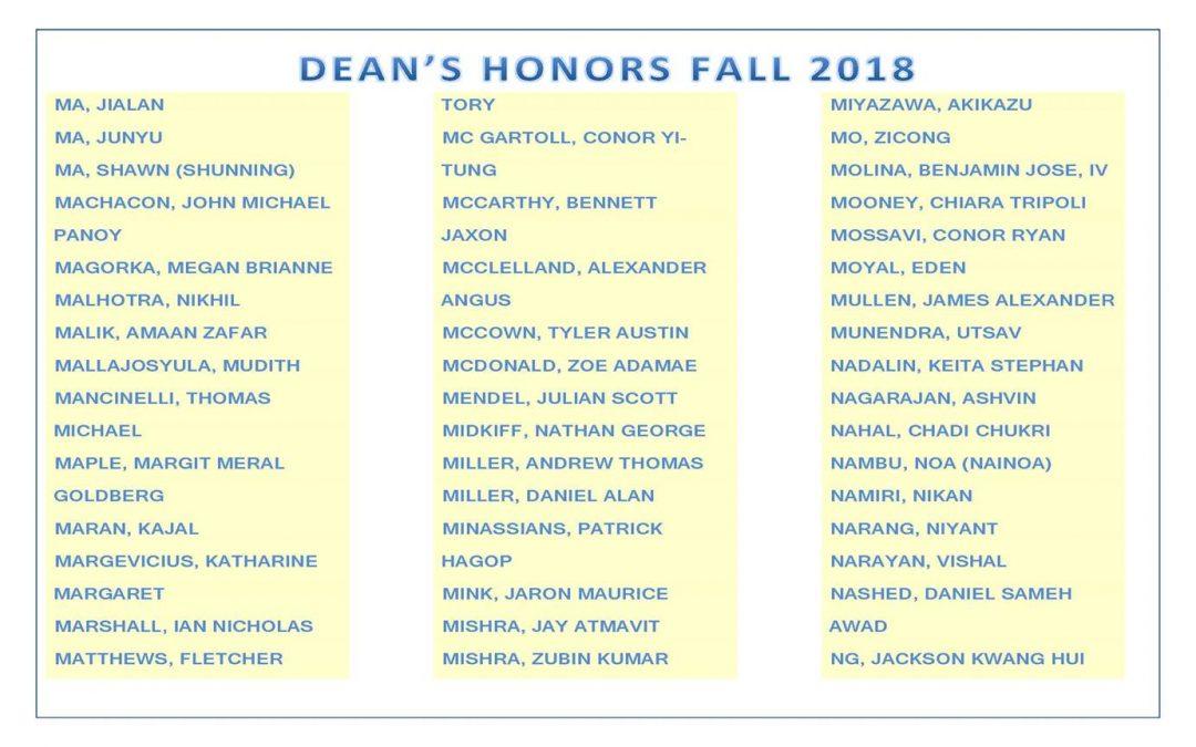 Dean's Honors Fall 2018 pg7