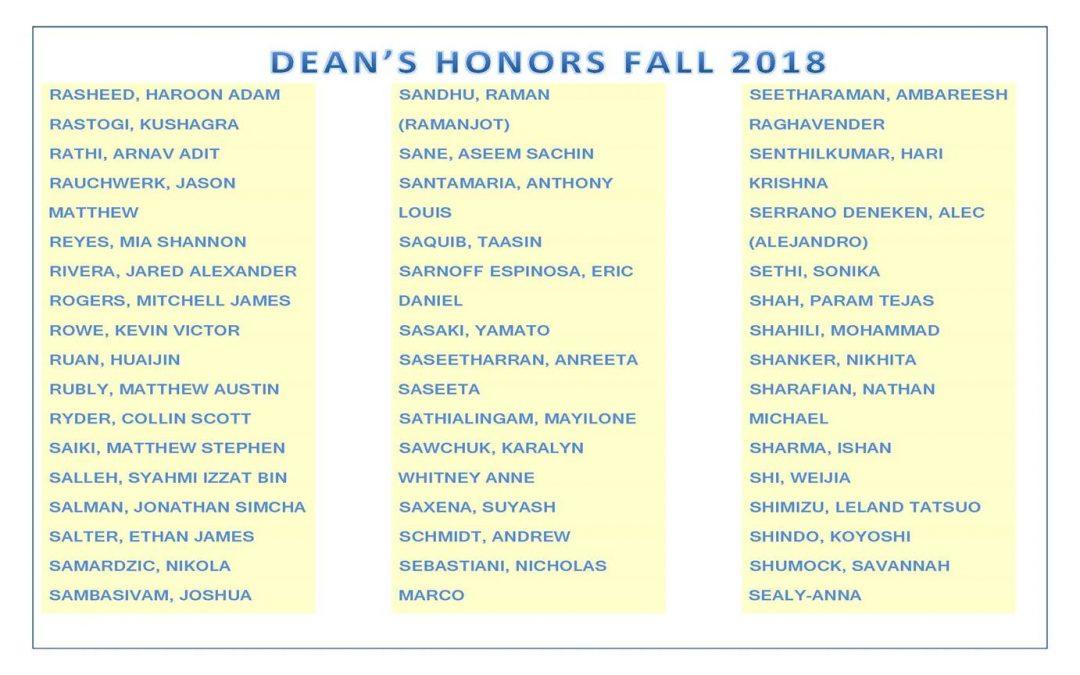 Dean's Honors Fall 2018 pg 9